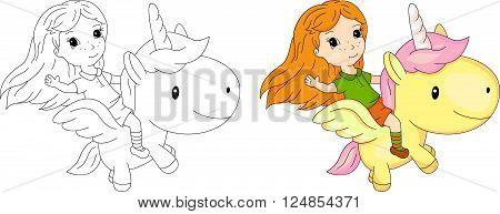Long-haired Girl Flying On A Fairy Unicorn