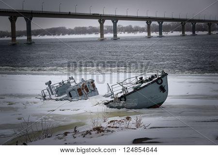 Sunken Vessel In A Frozen River