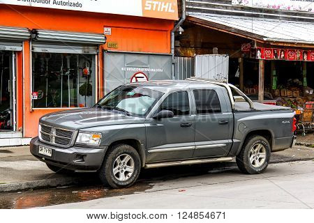 VILLARRICA, CHILE - NOVEMBER 20, 2015: Pickup truck Dodge Dakota in the city street.