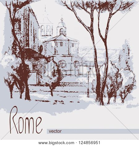 Graphic illustration of Rome. Italy. Poster Design. Drawing two-color pencil, sepia. Duotone
