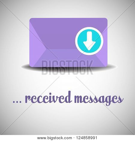 Purple envelope with arrow sign pointing downwards or inwards. Received messages concept