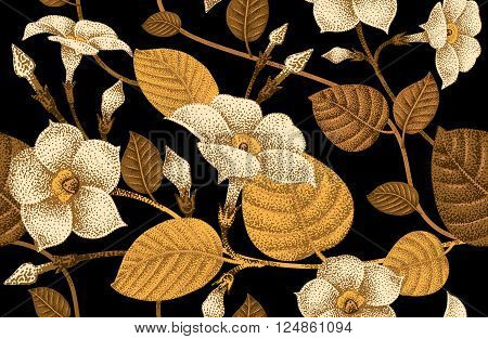 Climbing plant ivy. Vector seamless floral pattern. Garden flower bindweed. Flower Illustration - template design luxury packaging textile paper. Golden branch leaves flowers on black background.