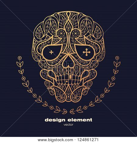 Vector design element - skull. Icon decorative skull isolated on black background. Modern decorative illustration. Template for creating logo emblem sign poster. Concept of gold foil print.