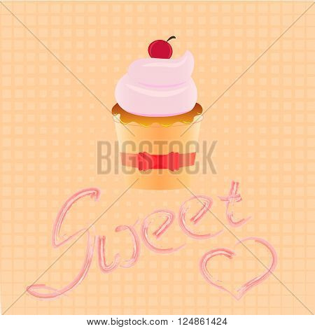 Logo confectionary sweet cupcake with pink cream and ribbons retro dessert emblem element design template in the style of pop art layout birthday or wedding invitation postcard picture