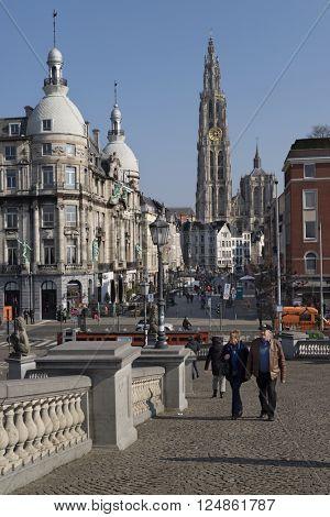 Belgium,Antwerp, March 17, 2016,View from Steenplein down Suikerrui towards Onze Lieve Vrouwkathedraal