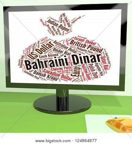 Bahraini Dinar Indicates Currency Exchange And Banknotes