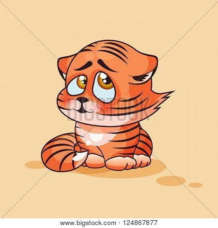 Vector Stock Illustration isolated Emoji character cartoon Tiger cub embarrassed, shy and blushes sticker emoticon for site, infographics, video, animation, websites, e-mail, newsletter, report, comic