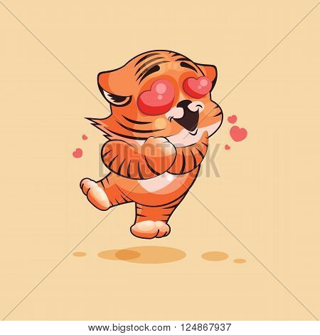 Vector Stock Illustration isolated Emoji character cartoon Tiger cub in love flying with hearts sticker emoticon for site, infographics, video, animation, websites, e-mails, newsletters, report, comic