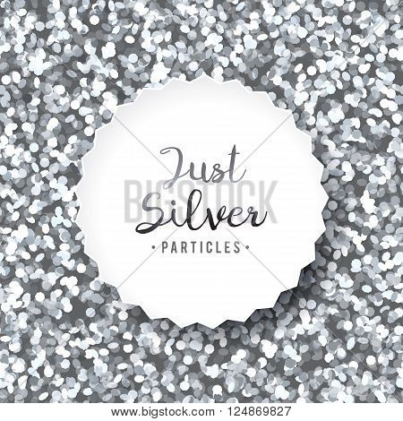 vector sparkles seamless pattern, texture of silver particles and white frame