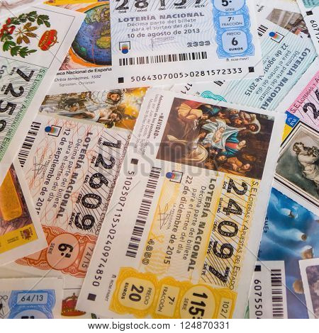 MADRID SPAIN - MARCH 29 2016: A lot of Spanish national lottery tenths. National lottery can make you millionaire with only one bet