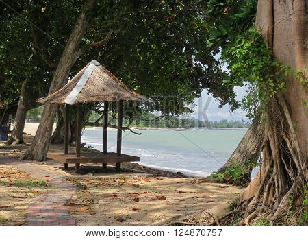 Tiki Hut on the Beautiful Beach of Johor Malaysia