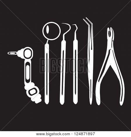 stencil dentist tools on a black background