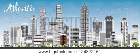 Atlanta Skyline with Gray Buildings and Blue Sky. Vector Illustration. Business Travel and Tourism Concept with Modern Buildings. Image for Presentation Banner Placard and Web Site.
