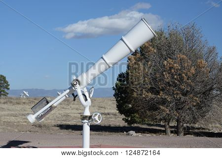 White big telescope at outdoor for sky observatory