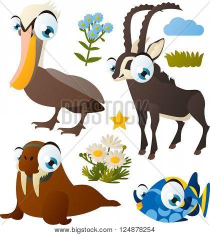 Colorful set of cute cartoon comic vector animal images: Pelican, Walrus, Antelope, Fish