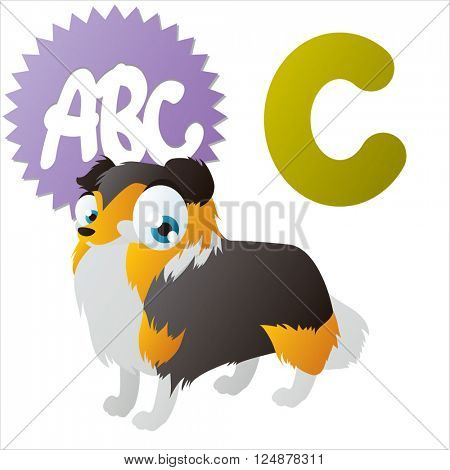 vector cute animal alphabet. Comic big eyes pets: C  is for Collie