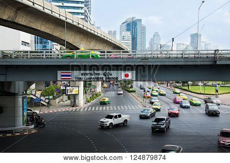 Bangkok, Thailand - March 12, 2016: The Bangkok Mass Transit System (bts). Thai - Japanese Bridge