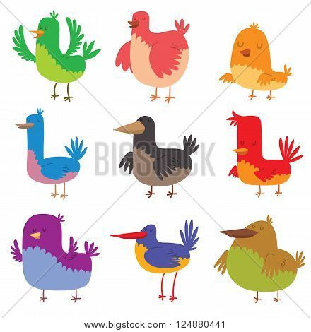 Funny birds character and colorful funny birds. Cute funny birds happy comic wild collection zoo different birds. Funny birds doodle cartoon collection wing animal character vector illustration.