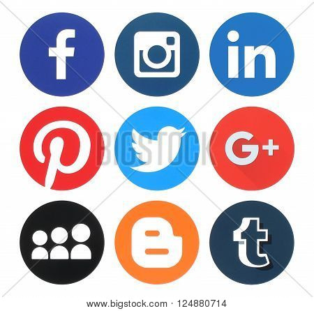 Kiev Ukraine - March 18 2016: Collection of popular round social media logos printed on paper:Facebook Twitter Google Plus Instagram MySpace LinkedIn Pinterest Tumblr and Blogger