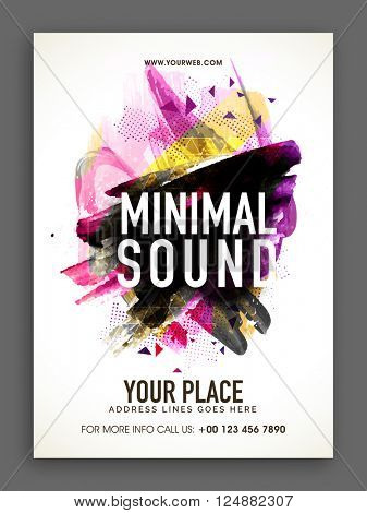 Musical Party Template, Banner or Flyer design with colorful abstract design decoration.