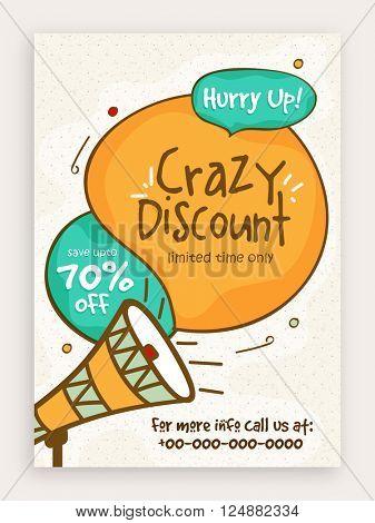 Crazy Discount, Sale Poster, Sale Banner, Sale Flyer, Save upto 70% for Limited Time, Vector illustration.