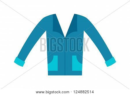 Cartoon blue shirt and fashion blue shirt. Blue shirt clothing textile and blue shirt wear dress. Adult business t-shirt. Clothing design concept man blue t-shirt front view flat vector illustration.