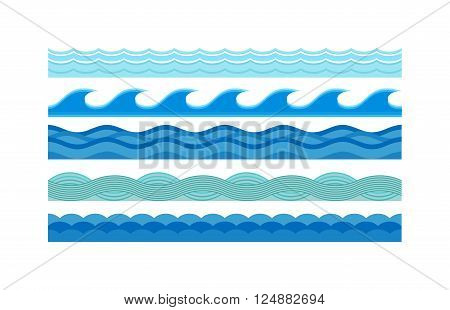 Nature waves and sea horizontally waves. Waves design pattern nature decoration, creative wet blue waves set. Sea waves pattern set horizontally ocean abstract element nature flat vector illustration.