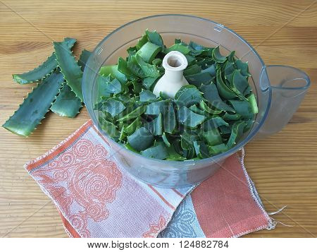 Aloe leaves on the table to make aloe juice for health