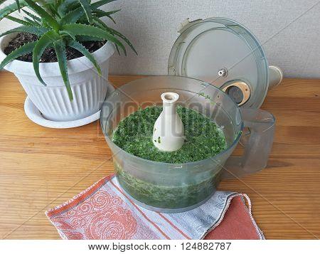 Aloe leaves on the table ?? food processor to make aloe juice