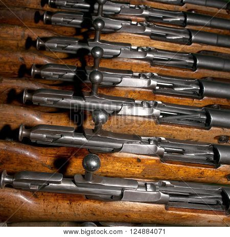 Several gates of the old military firearms - rifles discharged form