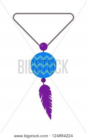 Vector illustration of tribal pendant amulet with feathers and moonstone. Pendant amulet blue colour stone with feathers boho style. Pendant amulet feathers charm symbol jewelry traditional necklace.