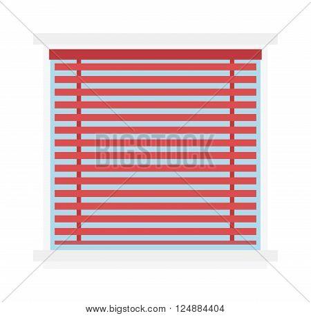 Window jalousie shutter background curtain blinds interior flat vector illustration. Jalousie louvers design and red jalousie curtain sign. Office horizontal jalousie striped shape geometric blind.