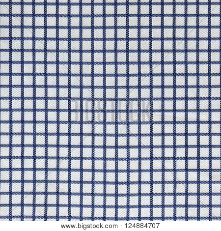 Blue and white gingham tablecloth pattern background texture