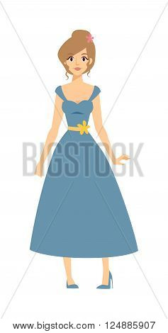 Top model beauty woman and top model body women. Attractive pretty young girl top model in blue dress. Full body young blonde top model woman in blue dress posing and style shoes cartoon vector.