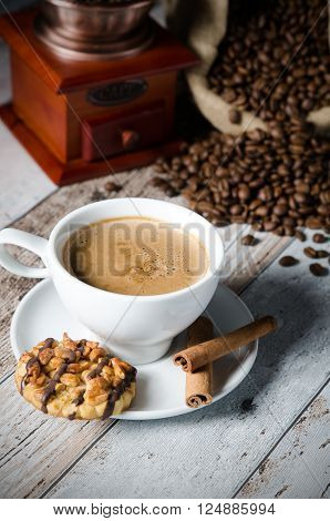 Coffee, Roasted Beans, Mill Grinder And Some Sweets