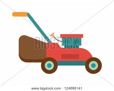 Machine lawn mower technology garden equipment tools, metal lawn mower colorful machine. Lawn mower farming wooden construction trowel. Gardening lawn mower groundworks tool machine technology vector.