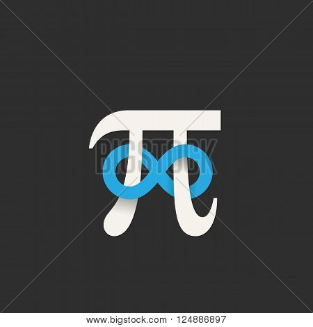 Pi Symbol with Infinity Sign Abstract Vector Icon, Label, Logo or Illustration. Soft Shadows, Gray and Blue Colors, Dark Background.