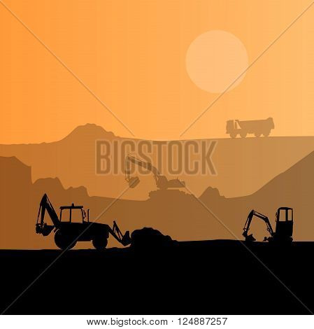 Construction machinery silhouette background. Black and orange set of ground works. Machines work in progress. Vehicle building equipment. Digger Bagger Excavator. Flatten isolated vector illustration poster