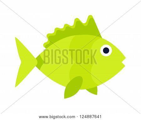 Underwater aquarium fish and marine aquarium fish. Tropical wildlife aquarium fish, colorful ocean green exotic fish. Aquatic fish wildlife aquarium underwater nature animal vector.