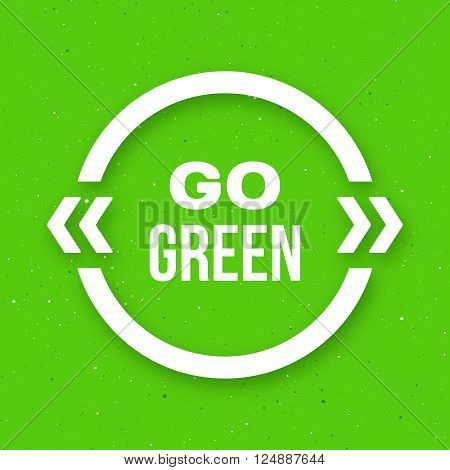 Go green typographic poster for Earth Day. Go green text in white quote frame on craft paper background. Motivation banner. Vector illustration