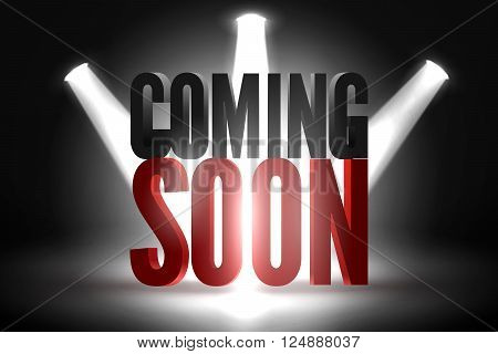 Coming soon in stage spotlight on dark background. Vector scene illuminated spotlight. Spotlight background vector. Coming soon on a show scene spotlight. Spotlight glow effect stage background.