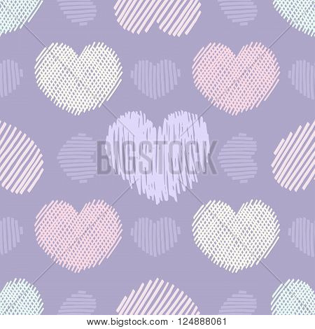 Doodle hearts. Seamless vector pattern with various violett doodle hearts.