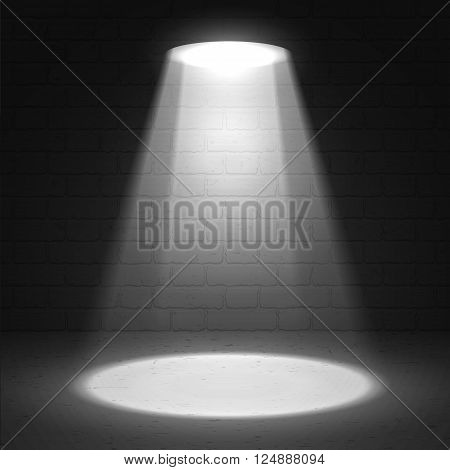 Stage spotlight on dark grunge background. Vector scene illuminated spotlight. Stage spotlight. Spotlight background vector. Show scene spotlight. Spotlight glow effect background. Spotlight on stage.