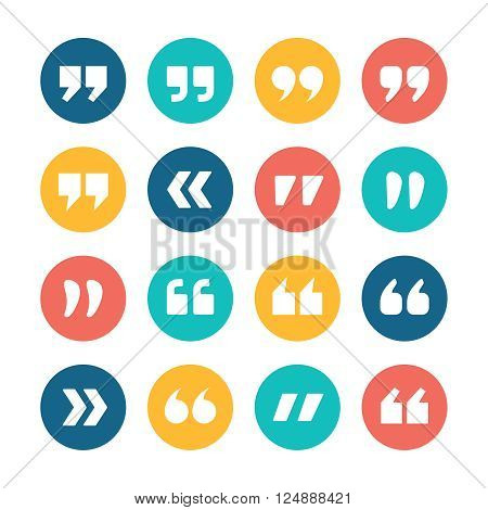 Quote marks flat circle icons set isolated on white background. Set of quotation marks. Double commas for quotation. Quote sign vector icons collection