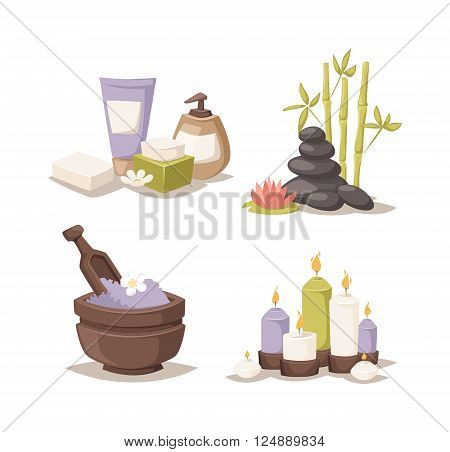 Natural soap, lavender bath salt and  hygiene bath salt items for bath spa.