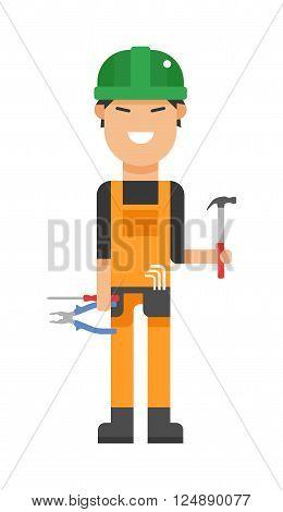 Serviceman builder professional and serviceman worker maintenance repair.