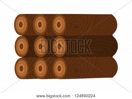 Stack of firewood logs and log stack energy industry. Log stack nature forest biofuels kindle charcoal, log stack woodpile. Stack of nine wooden logs firewood lumber tree cut flat vector illustration.