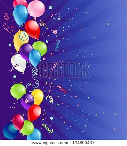 Bright card with balloons for design banner,ticket, leaflet and so on.Template page. Holiday card.