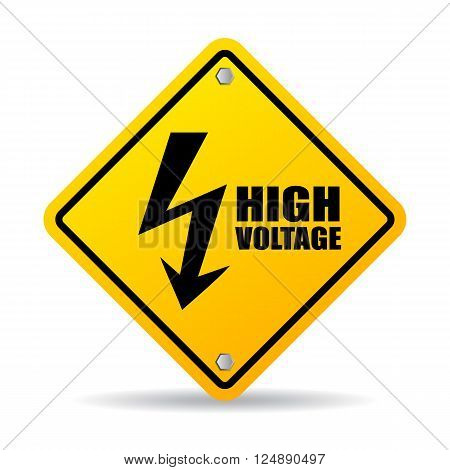 High voltage warning sign isolated on white background poster