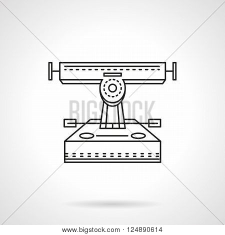 Longboard front view. Equipment for skateboarding and longboarding, active leisure entertainment, sports and recreation. Flat line style vector icon. Single design element for website, business.